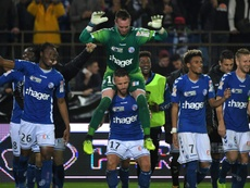 La joie des Strasbourgeois après leur succès face à Saint-Etienne en Coupe de la Ligue. AFP