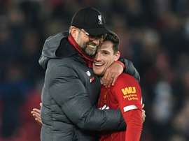 Um número incrível do Liverpool em Anfield. AFP