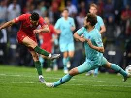 Gonçalo Guedes marque pour le Portugal contre les Pays-Bas. AFP