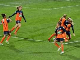 Les joueuses de Montpellier lors de la finale de la Coupe de France face à Lyon. AFP