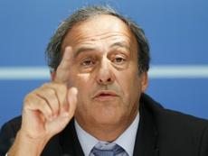 Michel Platini, placé mardi en garde à vue, lors dune conférence de presse le 28 août 2015. AFP