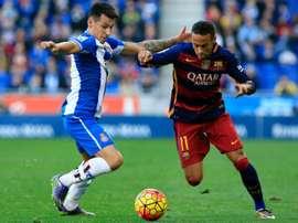 L'attaquant du FC Barcelone Neymar face à l'Espanyol Barcelone, le 2 janvier 2016 à Cornella. AFP