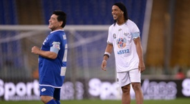 Ronaldinho dreams of playing in Maradona's Gimnasia. AFP