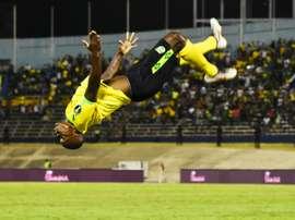 Dever Orgill a réussi un doublé avec la Jamaïque face au Honduras. AFP