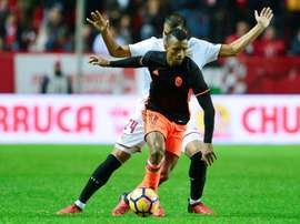 El extremo portugués tuvo que retirarse ayer del entrenamiento. EFE
