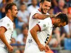 Jérémy Morel (d) buteur lors de la victoire 1-0 à Montpellier. AFP