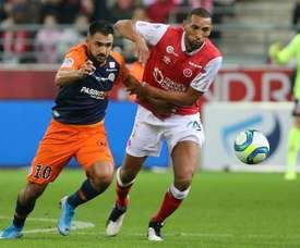 Reims écarte Montpellier et s'installe sur le podium. AFP