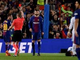 Sergi Roberto foi expulso frente ao Real. AFP