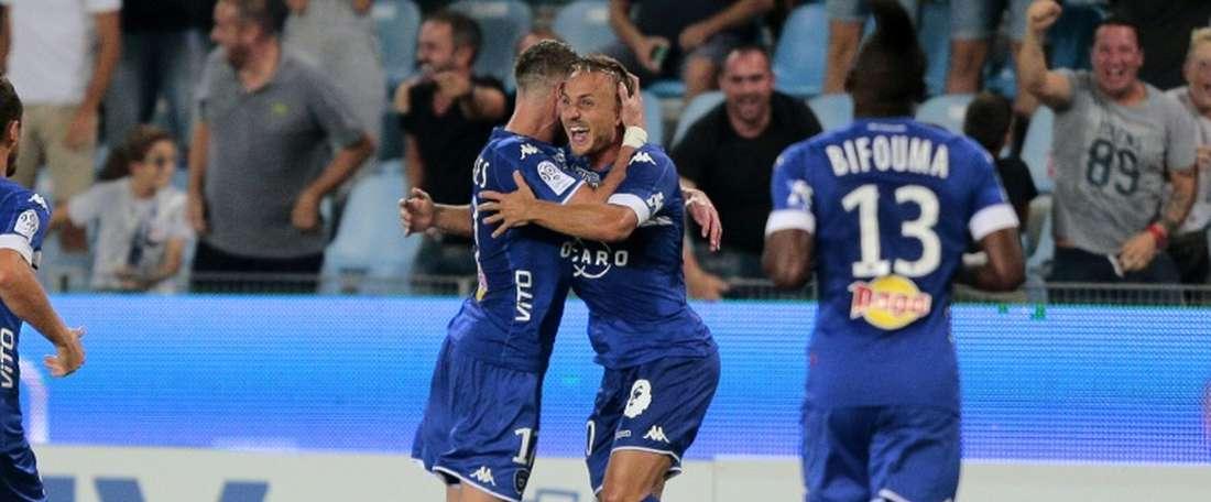 Le Suédois Pierre Bengtsson (c)a offert la victoire à Bastia face à toulouse au stade Armand Cesari, le 10 septembre 2016