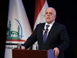 Le Premier ministre irakien Haider al-Abadi lors d'un discours à Najaf. AFP