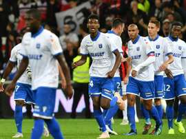La joie des Auxerrois, après un but marqué face à Nice en Coupe de la Ligue. AFP