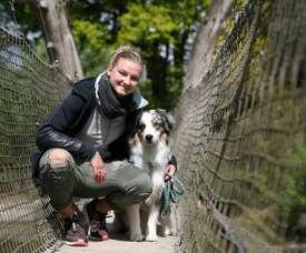 Au zoo avec Alexandra Popp, capitaine de l'Allemagne. AFP
