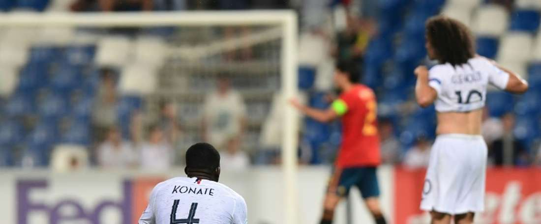 Konate got injured for Amiens against Lyon. AFP