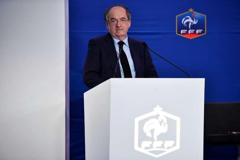 Le président de la FFF Noël Le Graët, en conférence de presse, le 24 février 2017 à Paris. AFP