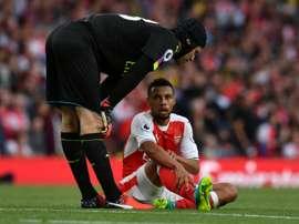 Francis Coquelin, blessé lors du derby londonien Arsenal-Chelsea. AFP