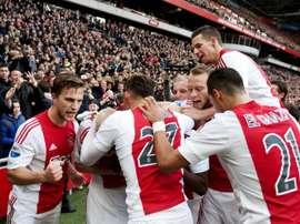 Les joueurs de lAjax, déjà vainqueurs du Feyenoord Rotterdam, lors dun match de championnat des Pays-Bas, à Amsterdam