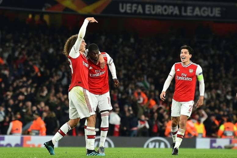 Nicolas Pepe was the hero for Arsenal with two brilliant free-kicks v Guimaraes. AFP