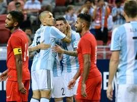 A Argentina bateu a Singapura por 0-6. AFP