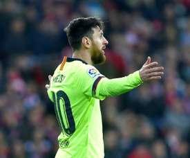 Tebas n'a pas eu sa langue dans sa poche concernant Messi. AFP