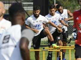 Les joueurs de l'OL à l'entraînement, le 4 août 2016 à Lyon. AFP