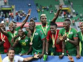 L'équipe du Burkina Faso, 3e de la CAN, le 4 février 2017 à Port-Gentil. AFP