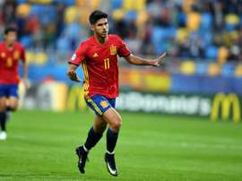 Marco Asensio is happy after scoring his first hat-trick.AFP