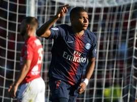 L'attaquant du PSG Kylian Mbappé buteur à Nîmes en 4e journée de L1. AFP