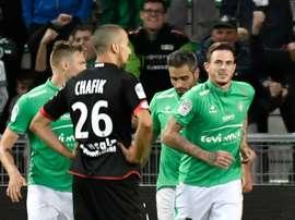 L'attaquant Nolan Roux, auteur de légalisation stéphanoise contre Dijon à Geoffroy-Guichard. AFP