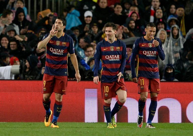Luis Suárez, Messi y Neymar, durante un partido con el Barcelona