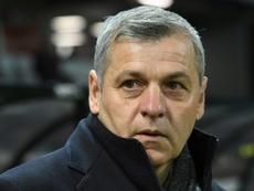 Bruno Genesio lors du match de Ligue 1 à Guingamp. AFP