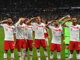 Les joueurs turcs ont refait le salut militaire après leur but. AFP