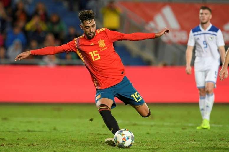 Brais Mendez contre la Bosnie-Herzégovine en match amical. AFP