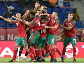 La joie des Marocains après un but contre la Côte dIvoire, le 24 janiver 2017 à Oyem. AFP