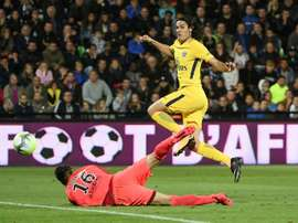 Cavani got on the scoresheet last time these team met but won't feature on Saturday. AFP