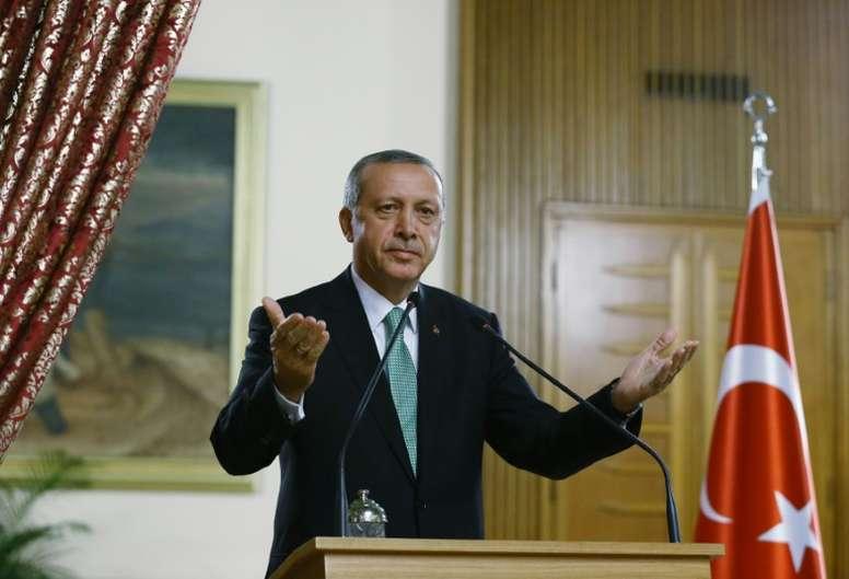 La protesta de Erdogan contra la UEFA. AFP
