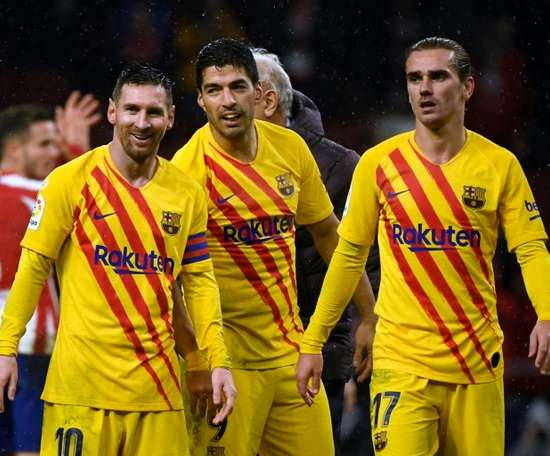 Barça's trident has only played 33.5% of matches together this season. AFP