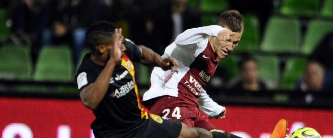 Lejeune, en un partido con el Metz. AFP