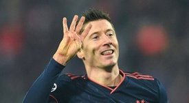 Lewandowski is the top scorer in the Champions League. AFP