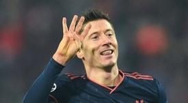 Lewandowski is the top scorer in the Champions League. AFP