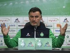 L'entraîneur de Saint-Etienne Christophe Galtier en conférence de presse, le 3 mai 2017. AFP