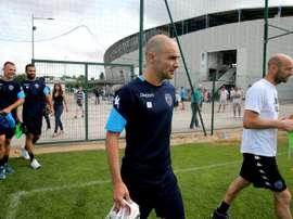 Le capitaine de l'ESTAC Benjamin Nivet durant une session d'entraînement au stade de l'Aube. AFP