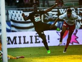L'attaquant de Guingamp Alexandre Mendy en quart de finale de la Coupe de France. AFP