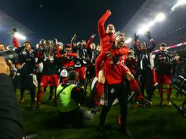 Os jogadores do Toronto FC celebram a conquista do título. AFP