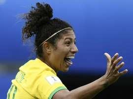 Cristiane faz história com o Brasil. AFP