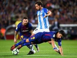Le défenseur de Malaga Paul Baysse lors du déplacement au Camp Nou le 21 octobre 2017. AFP