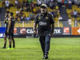 La légende argentine Diego Armando Maradona, avant un match contre les Cafetaleros. AFP