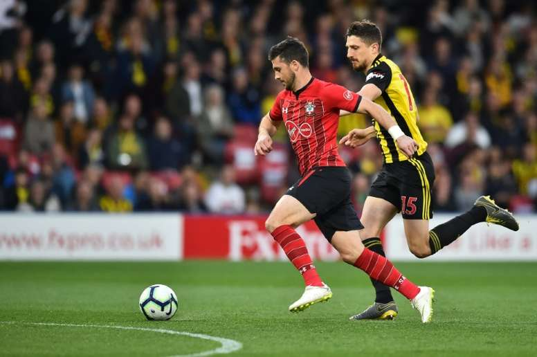 Shane Long playing for Southampton against Watford. AFP