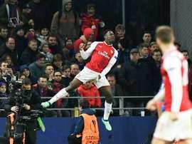 Lattaquant d'Arsenal, Danny Welbeck a réduit le score face au CSKA Moscou. AFP