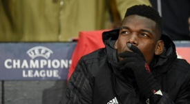 Pogba was left on the bench again for the Liverpool clash. AFP