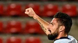 Giroud é o nome pensado pelo Milan para a próxima temporada. AFP